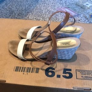 Style and Co sandals, camel and cream straps
